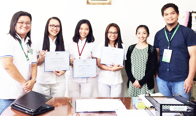 NNC Region 1 Program Coordinator Ma. Eileen Blanco and NO III Kendall Gatan pose for a picture with Bea Micah Caluza, Van Ira Ulatan, and Mia Gail Payapay who received their certificate of completion for having satisfactorily completed their 250-hour practicum as BSU-BSND trainees. Also in the picture is Ms. Daisy Tondo, PHN Practicum teacher (2nd from right). (From NNC Region 1 Facebook)