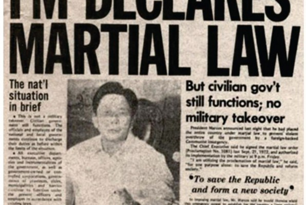 """""""FM Declares Martial Law""""—the headline of the September 24, 1972 issue of the Sunday Express, which was the Sunday edition of Philippines Daily Express. The Daily Express was the only newspaper allowed to circulate upon the declaration of Martial Law"""