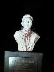 F Marcos bust vandalized