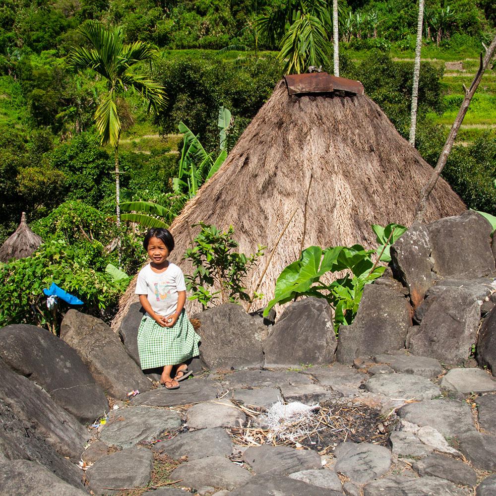 Dap-ay with girl in Cambulo, Ifugao