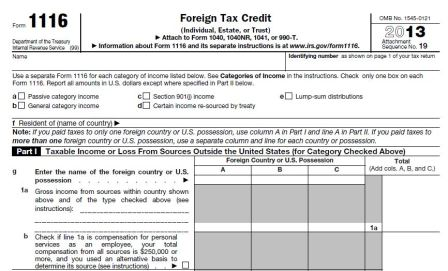 IRS Form 1116 - FTC