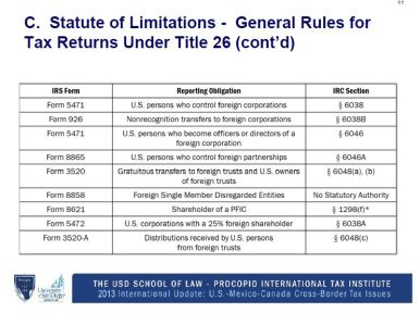 Statute of Limitations General Rules