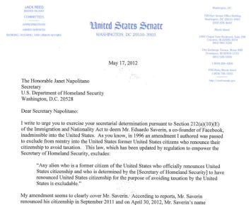 2012 Letter Senator Reed to Janet Napolitano
