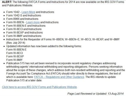 IRS Forms List Modified by FATCA from IRS