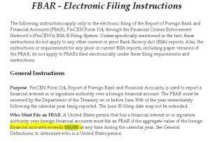 FBAR Electronic Filing Instructions