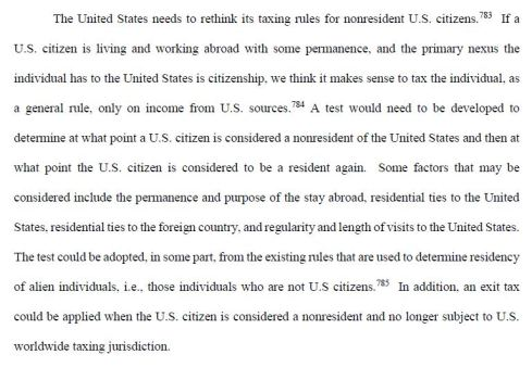 Republican Senate Finance Report Proposal for Tax Reform - U.S. Citizenship Based Taxation and Expatriation