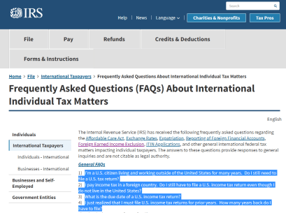 FAQ IRS re Individual International Taxpayers