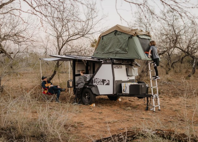 Camping in a roof top tent in TAXA Outdoors TigerMoth