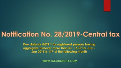 Photo of Notification no. 28/2019-Central tax – Due date of GSTR 1 of registered persons having aggregate turnover of more than Rs. 1.5 Crores for July – September 2019 is 11th of the following months