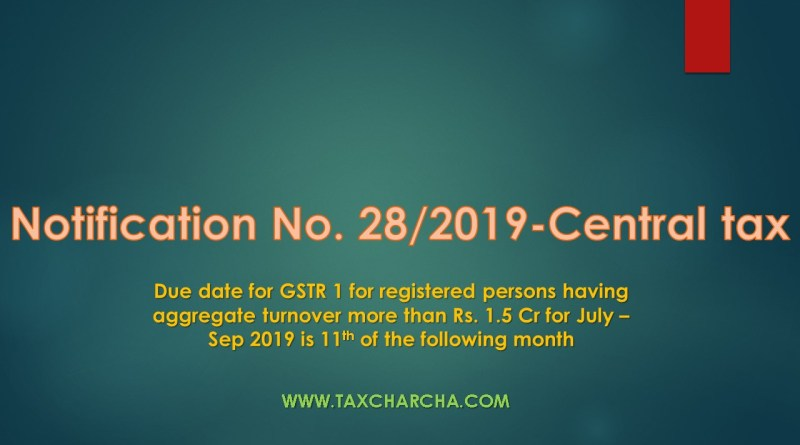 Notification no. 28/2019-central tax