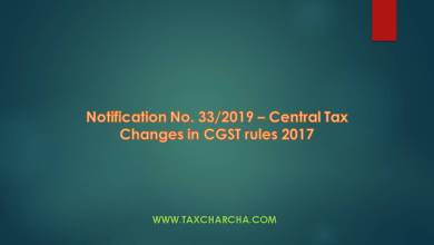 Photo of Notification No. 33/2019-Central Tax – Changes in CGST rules 2017