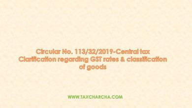 Photo of Circular no. 113/2019 – Clarification regarding GST rates & classification of goods