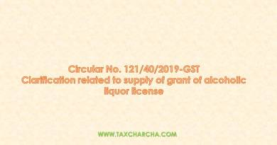 Circular no.121/2019-GST – Clarification related to supply of grant of alcoholic liquor license