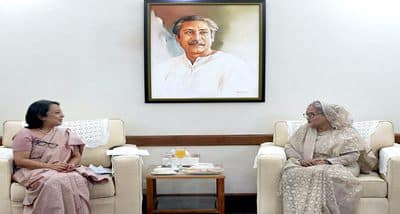 India's High Commissioner Riva Ganguly Das makes farewell call on PM Sheikh Hasina in Dhaka