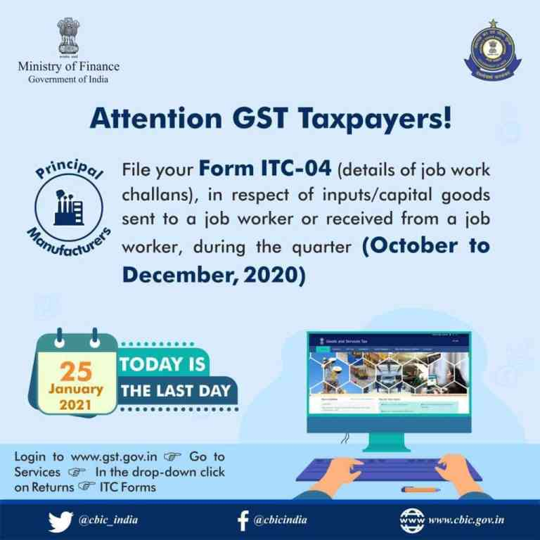 Attention GST Taxpayers!Today is the last date for filing Form ITC-04