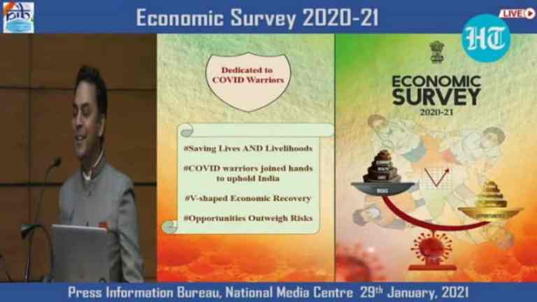 Economic Survey: Chief Economic Advisor says, economy is witnessing V-Shaped Recovery