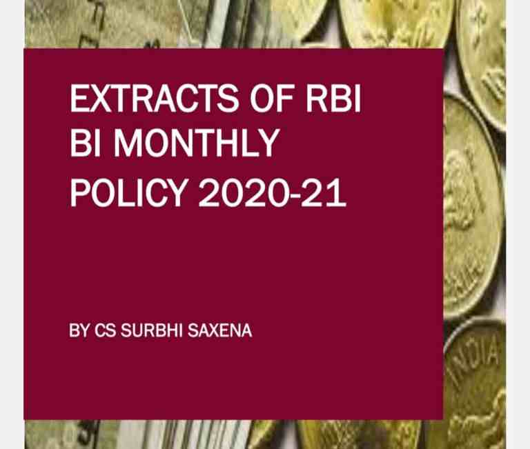 EXTRACTS OF RBI BI MONTHLY POLICY 2020-21