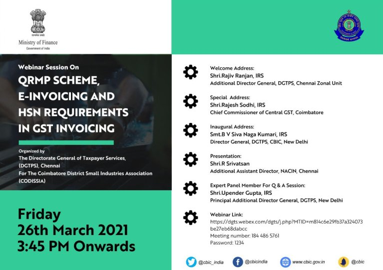 CBIC is organising a webinar on QRMP Scheme, E-Invoicing and HSN requirements in GST Invoicing on March 26, 2021