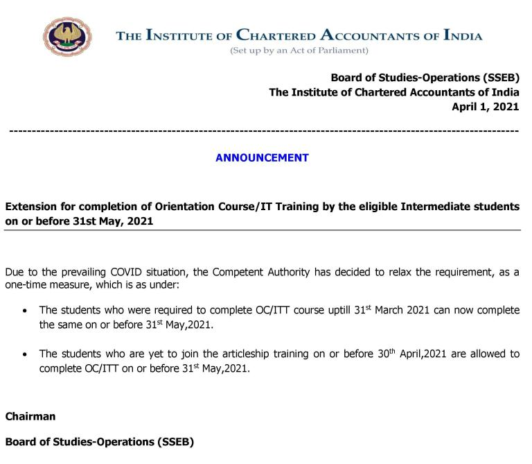 Extension for completion of Orientation Course/IT Training by the eligible Intermediate students on or before 31st May, 2021 Details