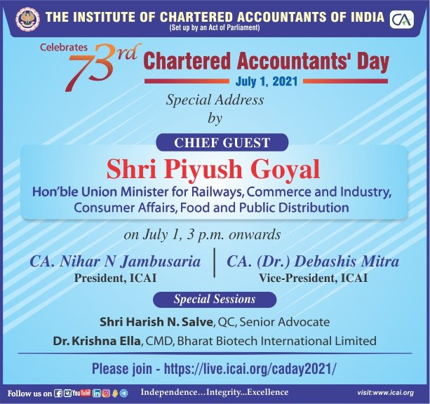 ICAI wishes a very Happy Chartered Accountants' Day