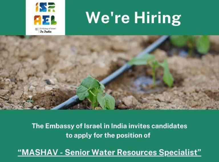 "JOB Alert! Recruitment of ""MASHAV – Senior Water Resources Specialist"""