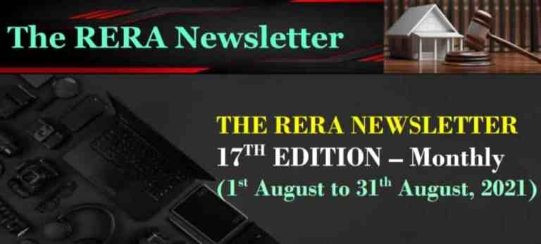 Real Estate Regulatory Authority (RERA) for the month September, 2021 Newsletter (Compliances under RERA)
