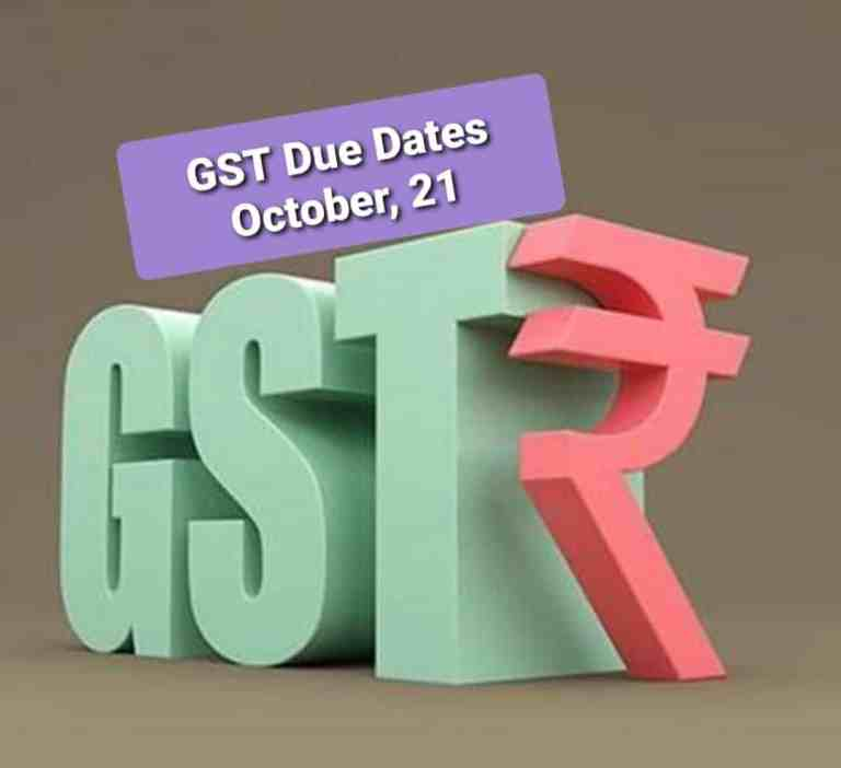 Important GST Due Dates [Table] October, 2021