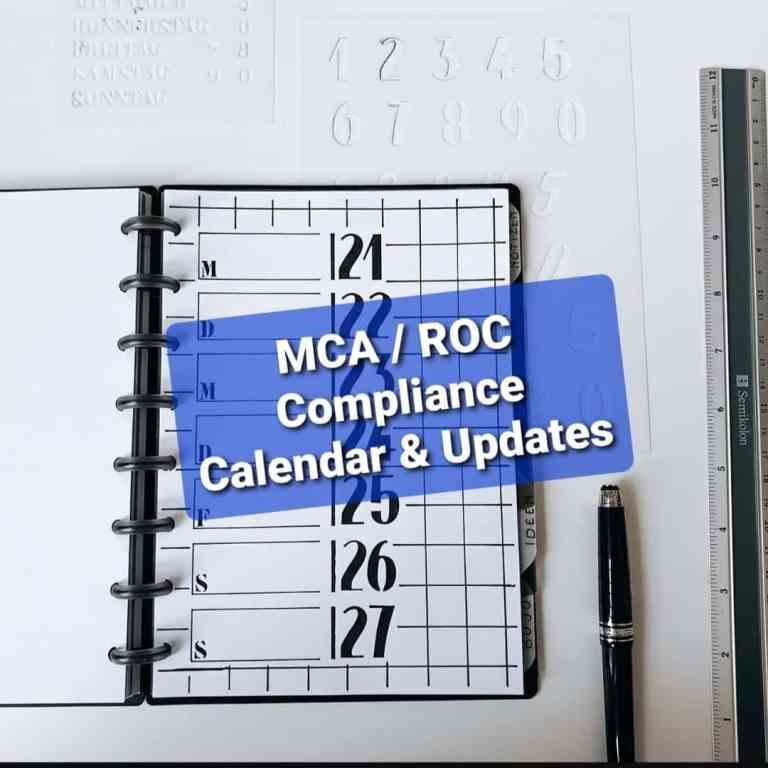 MCA / ROC Compliance Calendar & Updates – October, 2021 [Track Important Due Dates]