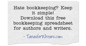 Bookkeeping spreadsheet for authors and writers | Taxes for