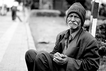 homeless man on street