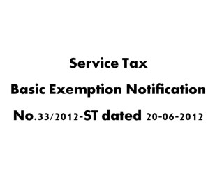 Service Tax Basic Exemption Notification No 33-2012-ST dated 20-6-2012