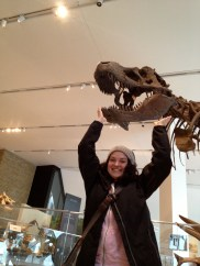 Look! I'm holding up a real TRex skull!
