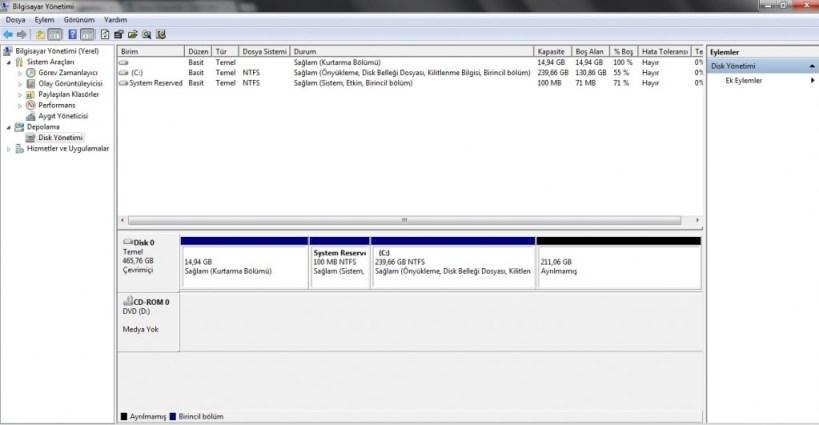 Windows 7 - Sabit Diski bölümlere ayırma