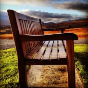 A bench at the Commando Memorial in Scotland.