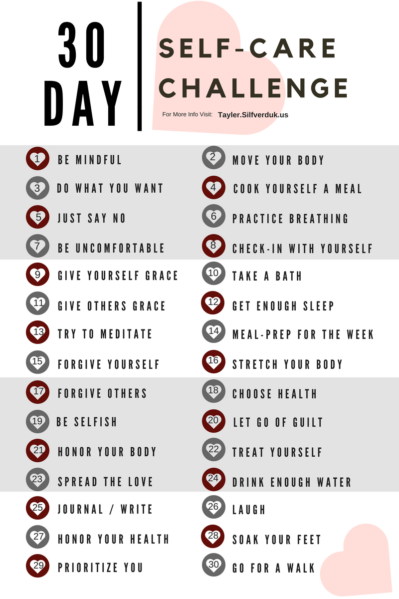 30 Day Self-Care Challenge - Tayler Silfverduk DTR - #selfcare #selfcarechallenge #mindfulness #intuitiveeating #mindful #loveyourself #bodypositivity #rejectdiets #loveyourself #rd2be #dietetics #healthyhabits #habitguide #goodhabits #buildbetterhabits #infographic #healthinfographic #healthchallenge #mentalhealth #copingwithlife #chronicdiseaseinfo #30daychallenge #selflovechallenge #positivitychallenge #freechallenge