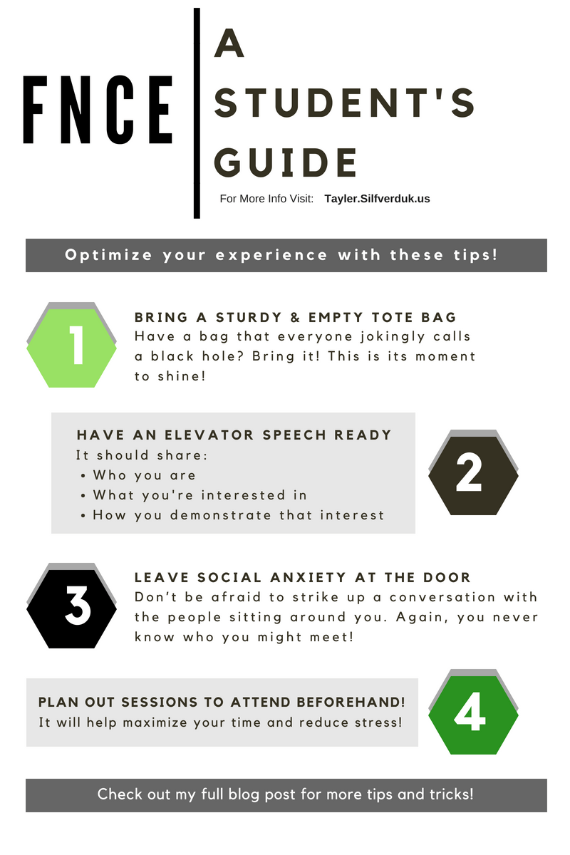 A Student's Guide to FNCE - Tayler Silfverduk DTR - Planning on going to the Food and Nutrition Conference and Expo? Are you a student looking to plan for the event! Here are my top tips based off of my experience from 2017! #FNCE #conferences #dietetics #FNCEtips #nutrition #nutritionanddietetics #DTR #dieteticstudent #studentdietitian #rd2be #conferenceguide #studentliaision #eatrightorg #academyofnutritionanddietetics #AND #foodandnutritionmag