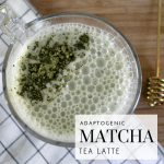 Adaptogenic Matcha Tea Latte - Tayler Silfverduk - Looking for ways to adapt better to stress? Try eating/drinking adaptogens! They help the body adapt to stress in a more effecient manner. This adaptogenic latte is the perfect way to maximize brain power and improve you stress response due to the potent activity of both the Matcha Tea and the Ashwagandha powder.