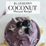 Blueberry Coconut Mousse Recipe - Tayler Silfverduk - A Dairy-Free Recipe, Gluten-Free Recipe, Vegan Recipe, Plant-Based Recipe, that is tasty and easy. With only 6 ingredients involved this recipe is a true testament to how simple can be better. This mousse dessert recipe is sure to please all who tries it. Perfecting for satisfying your sweet tooth in a healthy, filling, and nourishing way! It's rich, decadent, and easy to make, what more can you ask for? #vegan #plantbased #vegandessert #easyvegandessert #plantbasedeasydessert #glutenfreedessert #cashewdessert #blueberrydessert #healthydessert #cashew #blueberry #coconut #veganmousse #glutenfreemousse #celiacrecipe #celiac #celiaceats #easyceliacrecipe