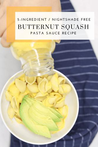 Butternut Squash Pasta Sauce Recipe - Tayler Silfverduk DTR - nightshade free pasta sauce, 5-ingredient recipe, 5-ingredient pasta sauce, nightshade free recipes, #celiacdietitian #celiacliving #celiacdiet #butternutsquash #butternutsquashrecipe butternut squash recipe #butternutsquashpastasauce #pastasaucerecipe #gluten-freeliving #celiacnutrition #gluten-freenutrition #AIP #AIPrecipes #paleorecipes #celiacfriendly #nightshadefree