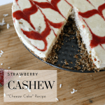 Strawberry Cashew Cheeze Cake Recipe - Tayler Silfverduk - A gluten-free and dairy-free spin on a crowd favorite. This faux cheesecake will fool even the pickiest eaters! #strawberry #strawberrycheesecake #patriotic #cheesecake #cheezecake #fauxcheesecake #gelatin #collagen #everydayfoodupgrade #glutenfree #paleo #cashewcheesecake #coconut #strawberryswirl #redwhiteandblue #fourthofjuly #independenceday #glutenfreefourthofjuly #USA