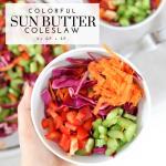 Colorful Sun Butter Coleslaw - Tayler Silfverduk DTR - #saladrecipe #coleslaw #vegancoleslaw #slawrecipe #saladbowl #coldsalad #sunbutter #tahinidressing #coleslaw #glutenfreesidedish #glutenfreethanksgiving #celiacthanksgiving #celiacsafethanksgiving #glutenfreerecipe #glutenfreeblogger #DTR #dietetics #silfverduk #rd2be #colorfulfood #colorfuldish