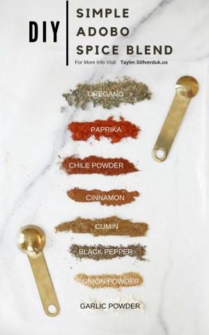 DIY Simple Adobo Spice Blend - Tayler Silfverduk, DTR - #diydpiceblends #diyseasonings #seasoningrecipe #spiceblendrecipe #adobospiceblend #spicerub #diyspicerub #meatrub #glutenfreespiceblend #homemadespiceblend #diyadobos #homemadeadobo #howtouseadobo #easyspiceblends #elevateyourfood #glutenfreecooking #glutenfree #DTR #rd2be #dietetics #latincuisine