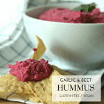 Garlic Beet Hummus - Tayler Silfverduk - Upgrade and elevate your hummus with beets. This recipe can't be beeten! #beets #beethummus #recipe #glutenfree #vegan #gluten-free #plantbased #healthydips #healthypartyfood #healthysnack #glutenfreeparty #everydayfoodupgrade #foodupgrade #foodhack