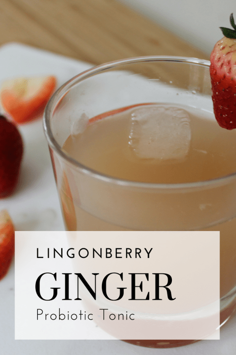 Lingonberry Ginger Probiotic Tonic - Tayler Silfverduk - The perfect refreshing beverage to sip on a hot summer day. A fermented probiotic beverage that will help you feel better and heal you gut!