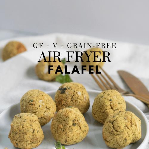 Gluten-Free Air Fryer Falafel - Tayler Silfverduk DTR - grain-free falafel, gluten-free falafel, air fryer recipe, vegan air fryer recipe, plant-based air fryer recipe, gluten-free air fryer recipe, grain-free air fryer recipe, air fryer falafel, vegan recipe, plant-based recipe, grain-free recipe, gluten-free recipe, celiac safe recipe, celiac safe air fryer recipe, gluten-free nutrition, #glutenfree #vegan #vegetarian #chickpeas #falafel #airfryer #grainfreerecipe #grainfree