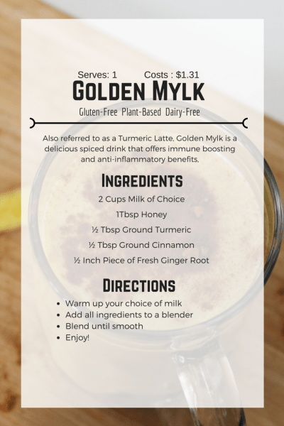 The Best 5 Ingredient Turmeric Latte - Tayler Silfverduk - 2 Cups Milk of Choice (I used Cashew), Honey, Turmeric, Cinnamon, Ginger root! With only 5 ingredients you can make this delicious and cold busting drink! #coldbuster #turmeric #goldenmylk #goldermylktea #healthylatte #easylatte #glutenfree #celiac #gluten-free #plantbased #vegan #easyrecipe #healthdrink  #affordablerecipe