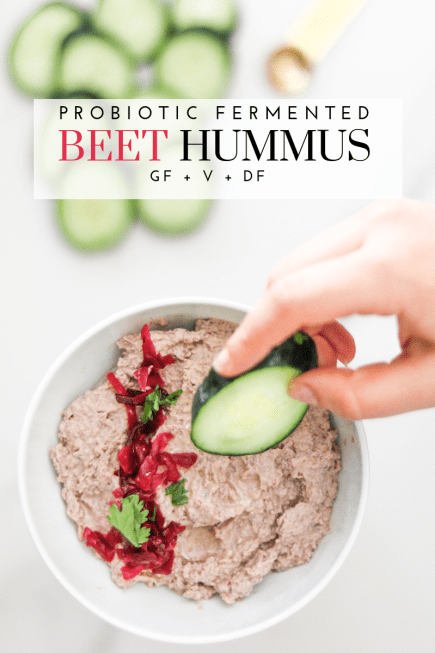 Probiotic Fermented Beet Hummus - Tayler Silfverduk DTR - #glutenfree #probiotic #livefood #culturedfood #saurkraut #fermentedfood #hummus #beethummus #celiac #fancydip #thanksgivingdip #easydip #4ingredients #4ingredientdip #rd2be #nutrition #fermentedfood #holidaydip #holidayfood #kraut