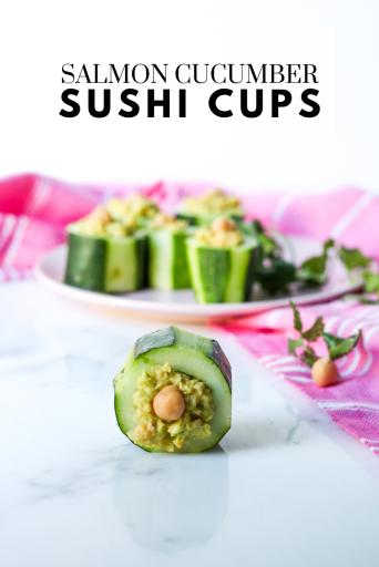 Salmon Cucumber Sushi Cups - Tayler Silfverduk DTR - easy sushi, salmon sushi, gluten-free sushi, simple sushi, cucumber sushi, cucumber cups, cucumber boats, cucumber snack, cucumber recipe, #glutenfreerecipe #easyglutenfree #easysushi #sushirecipe #cucumberboats #cucumber #eatyourveggies #rd2be #celiacsaferecipe, celiac safe recipe, balsmic vinegar, fish sauce, rice vinegar, #glutenfreeappetizer #glutenfreesnack #glutenfreelunch #easylunch
