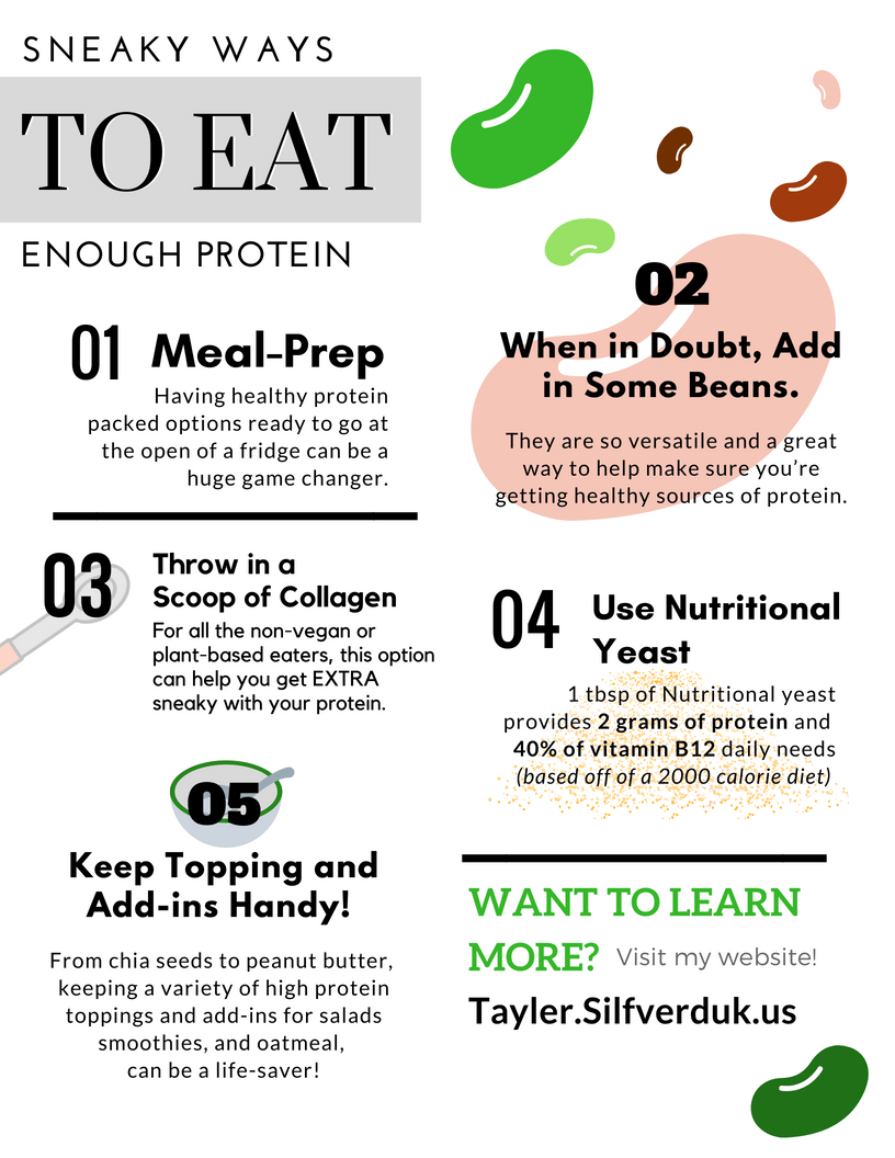 Sneaky Ways to Eat Enough Protein - Tayler Silfverduk - Are you struggling to eat enough protein? Are you not a big fan of meat and dairy products? Are you vegan or plant-based? What ever category you fall under, I get it. I struggle with it too! Here are my top 5 tips on how to eat enough protein!