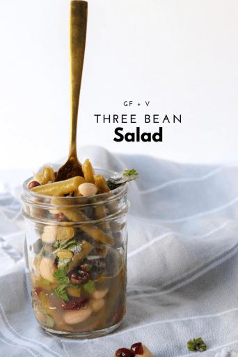 Three Bean Salad Recipe - Tayler Silfverduk DTR, celiac disease, celiac safe recipe, celiac safe food, magnesium rich recipe, iron rich recipe, vegan iron rich food, gluten-free salad, vegan salad, green bean recipe, chickpea recipe, recipe with beans, gluten-free cookout, gluten-free picnic, gluten-free quick recipe, vegan protein rich recipe, plant based recipe, plant based iron, plant based side dish, vegan side dish, celiac friendly food, celiac friendly recipe